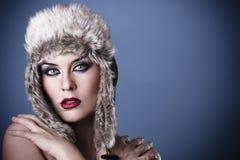 Une fille de beauté sur le fond de l'hiver Images stock