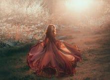 Une fille de brune avec les cheveux onduleux et épais court au soleil et regarde en arrière La princesse a un luxueux, mousseline photographie stock libre de droits