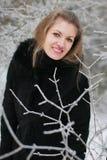 Une fille en hiver Photos stock