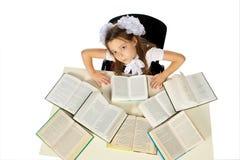Une fille et livres Photographie stock