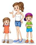Une fille et ses enfants de mêmes parents Photographie stock libre de droits