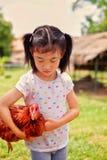 Une fille et son poulet photo stock