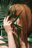 Une fille examine la distance par la branche de paume Photographie stock