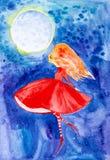 Une fille féerique avec des cheveux rouges et une robe rouge avec ses yeux a clôturé des vols planés au-dessus du ciel nocturne b illustration libre de droits