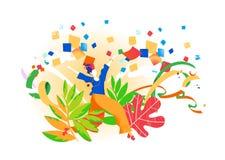 Une fille heureuse danse et célèbre dans la nature illustration libre de droits