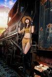 Une fille jouant le cowboy Image libre de droits