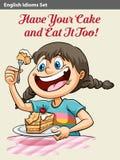 Une fille mangeant un gâteau Image libre de droits
