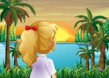 Une fille observant le coucher du soleil à la rive illustration de vecteur