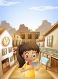 Une fille observant les photos tout en se tenant près des barres de salle illustration de vecteur
