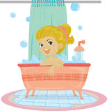 Une fille prenant Bath Photos libres de droits
