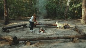 Une fille s'assied dans la forêt lisant un livre La fille s'assied sur un rondin à côté du feu et de frotter le chien banque de vidéos