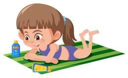 Une fille se bronzant sur la serviette illustration de vecteur