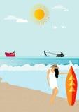 Une fille sur la plage Photo libre de droits