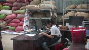 Une fille travaille à une usine de café banque de vidéos
