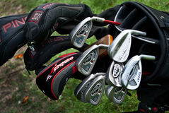 Une fin des clubs de golf Photos stock