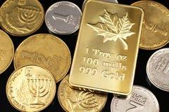 Une fin vers le haut de l'image d'un assortiment de pièces de monnaie israéliennes avec de l'un or canadien d'once sur un fond no photos stock