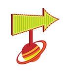 Une flèche indicatrice à la planète Saturne illustration de vecteur