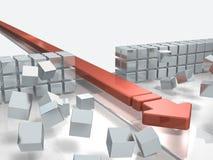 Une flèche s'approchant en traversant un obstacle indique le succès Photographie stock libre de droits