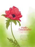 Une fleur de pavot sur un fond vert d'aquarelle Les fleurs dedans Photographie stock libre de droits
