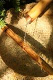 Une fontaine d'eau en bambou japonaise de jardin Image stock