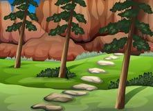 Une forêt avec de grandes roches Photo stock