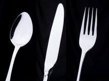 Une fourchette de couteau de cuillère argentée images stock