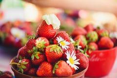 Une fraise fraîche dans une cuvette sur une table dans un jardin d'été est ornée avec des fleurs de camomille avec une étape disc images stock