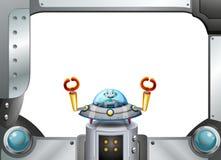 Une frontière de cadre en métal avec un robot à l'intérieur d'une soucoupe Photographie stock libre de droits