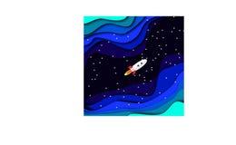 Une fusée blanche vole par un espace lointain illustration libre de droits