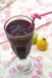 Une glace de jus de raisins sur le fond coloré Photos libres de droits