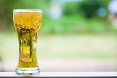 Une glace de la bière blonde Photo stock