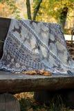 Une grande, grise couverture avec des cerfs communs pour un pique-nique se trouve sur un grand banc en bois en parc photographie stock
