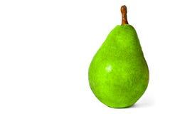 Une grande poire verte d'isolement sur le blanc Photo stock