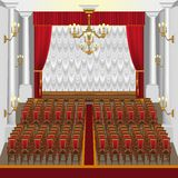 Une grande salle de concert avec une étape et des colonnes illustration de vecteur
