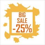 Une grande vente d'automne de vingt-cinq pour cent entourés par jaune part sur un fond blanc Remise, bon marché, vente Photo libre de droits