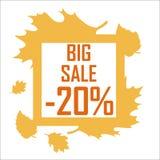 Une grande vente d'automne de vingt pour cent entourés par jaune part sur un fond blanc Remise, bon marché, vente Photographie stock libre de droits