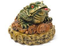 Une grenouille de Trois-garniture avec une pièce de monnaie Images libres de droits