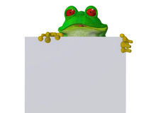 Une grenouille mignonne de bande dessinée tenant un signe vide Photos stock
