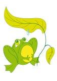 Une grenouille se reposant sous une feuille Images libres de droits