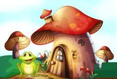 Une grenouille verte près d'une maison de champignon Photo stock