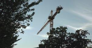 Une grue de construction orange à Upsal s'est serrée des oiseaux banque de vidéos