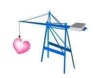 Une grue mobile bleue avec un grand coeur brisé Images libres de droits