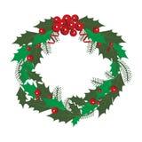 Une guirlande de Noël avec des feuilles de vert et des baies rouges de viburnum sur un fond blanc Illustration de vecteur illustration libre de droits