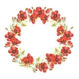 Une guirlande des wildflowers Illustration d'aquarelle d'aspiration de main Photographie stock libre de droits