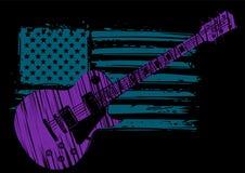Une guitare électrique avec le drapeau américain d'isolement sur un fond noir illustration libre de droits