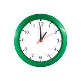 Une heure sur l'horloge murale verte Photographie stock libre de droits