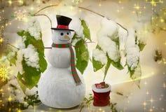 Une histoire de Noël : Bonhomme de neige avec des cadeaux rendu 3d Photographie stock