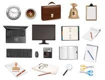 Une horloge, calculatrice et quelques fournitures de bureau. illustration de vecteur