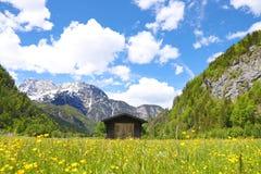 Une hutte en bois située dans une vallée de montagne dans les Alpes photographie stock libre de droits