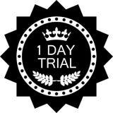 Une icône noire de luxe d'essai d'insigne de jour illustration stock